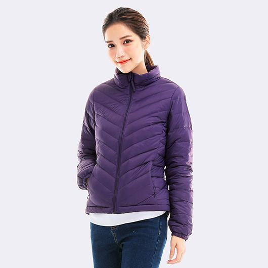 立領刷毛保暖羽絨外套-紫