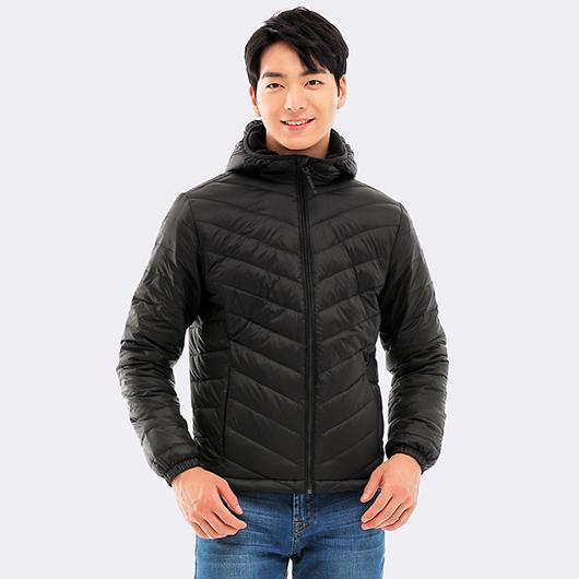 防潑水連帽刷毛保暖羽絨外套-L.XL