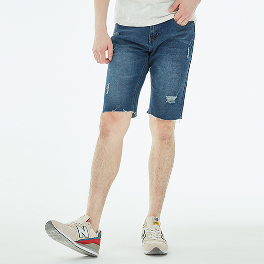磨破刀割水洗刷色牛仔短褲-S.M.L.XL.XXL