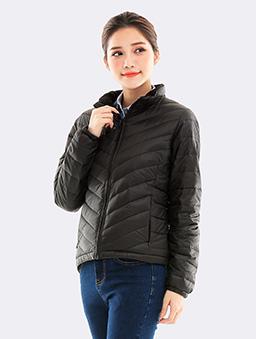 防潑水立領刷毛保暖羽絨外套-黑