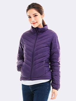 立領刷毛保暖羽絨外套-紫-紫