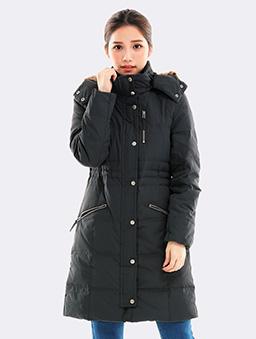 極暖長版連帽羽絨外套-鐵灰-鐵灰