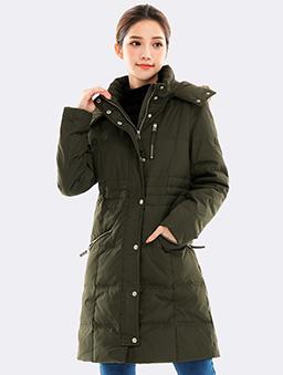 極暖率性長版連帽羽絨外套-S.M.L.XL.XXL-軍綠