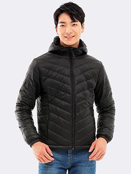 防潑水連帽刷毛保暖羽絨外套-L.XL-黑