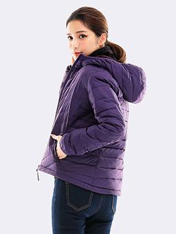 防潑水連帽刷毛羽絨外套-S.M.L.XL-紫