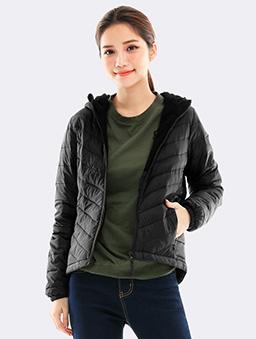 防潑水連帽刷毛羽絨外套-S.M.L.XL-黑