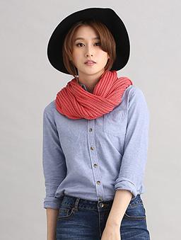 粗針毛織長圍巾-橘紅