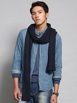 粗針毛織長圍巾-深藍