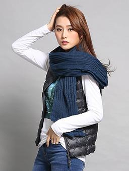 粗針毛織長圍巾-藍