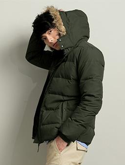 連帽軍裝防風保暖羽絨外套-S.M.L.XL-軍綠