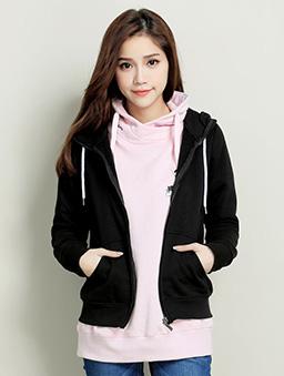素色口袋刷毛外套-S.M.L.XL-黑