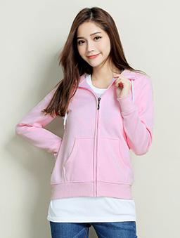素色口袋刷毛外套-S.M.L.XL-粉紅