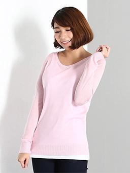 基本V領長袖針織毛衣女-S.M.L.XL-粉紅