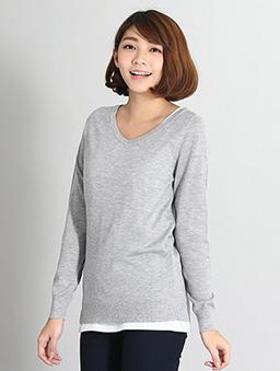 基本V領長袖針織毛衣女-S.M.L.XL-淺灰