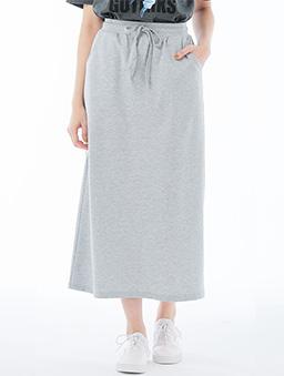 休閒綁帶直筒長裙女-S.M.L.XL.XXL-淺灰