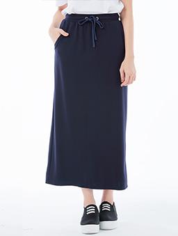 休閒綁帶直筒長裙女-S.M.L.XL.XXL-深藍