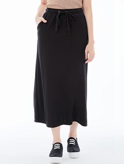 休閒綁帶直筒長裙女-S.M.L.XL.XXL-黑