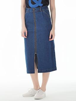 自信彈性鬆緊牛仔長裙女-S.M.L.XL.XXL-深藍