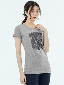 長版短袖T恤Focus-女-S.M.L.XL-淺灰