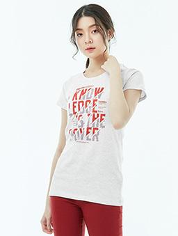 長版短袖T恤-力量女-S.M.L.XL-米白