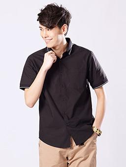 原色短袖襯衫-S.M.L.XL-黑