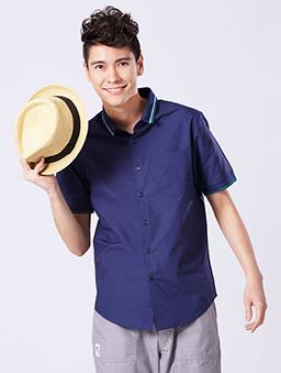 原色短袖襯衫-S.M.L.XL-深藍