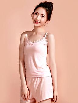 素色細肩帶居家套裝-S.M.L-粉紅
