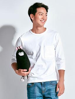 素色圓領寬版七分袖T-M.L.XL-白色