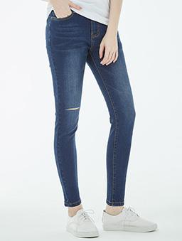 率性刷破洗色彈性牛仔褲-女-S.M.L.XL.XXL-深藍