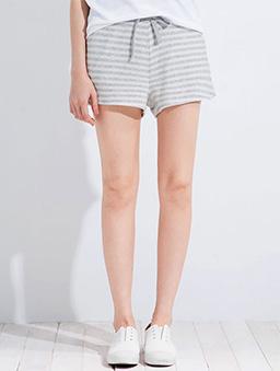 繫繩條紋家居短褲女-S.M.L-白色