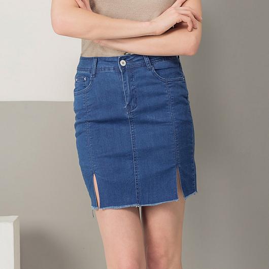 修身顯瘦不修邊開衩丹寧窄裙