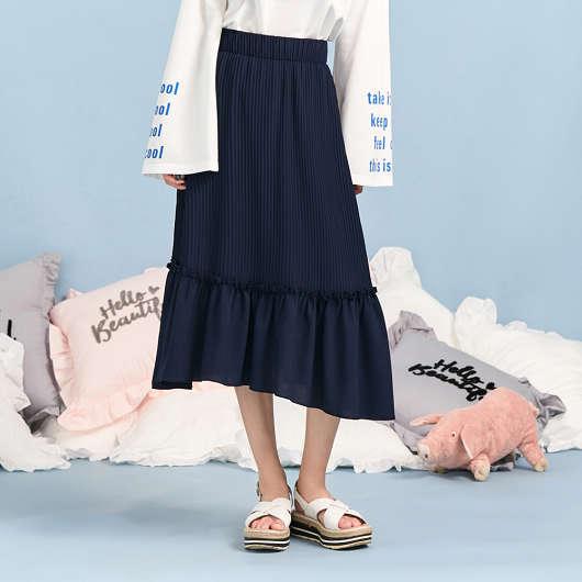 雪紡壓褶荷葉長裙