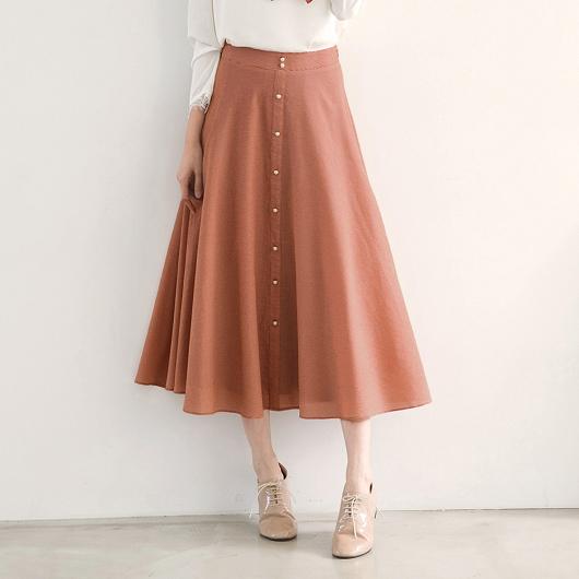 排釦珍珠小格紋長裙聯名款