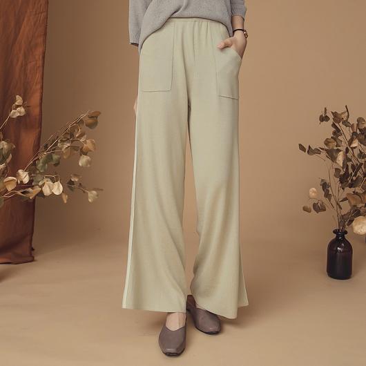 歐美時尚運動風針織寬褲
