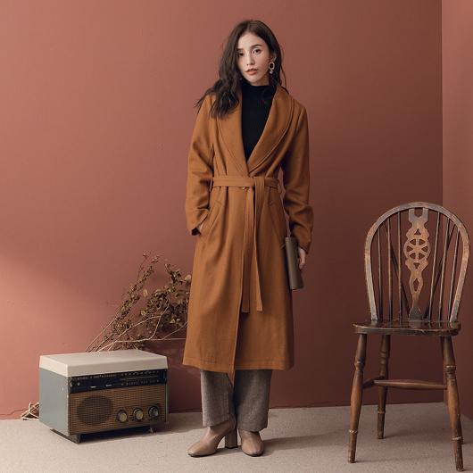 韓國姐姐綁帶長版大衣外套
