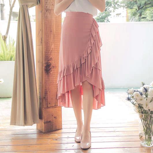 韓妞最愛荷葉不對稱魚尾長裙