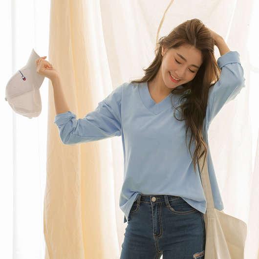 tokichoi -糖果女孩羅紋V領棉質長袖T恤