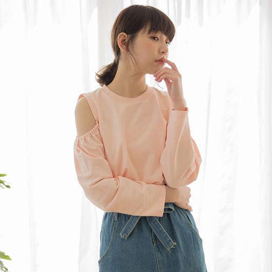 tokichoi -青春女孩鬆緊挖肩圓領長袖上衣