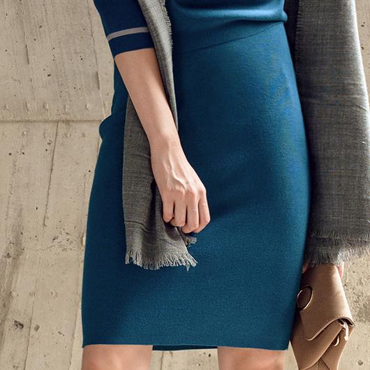 歐美細緻百搭修身針織中長裙