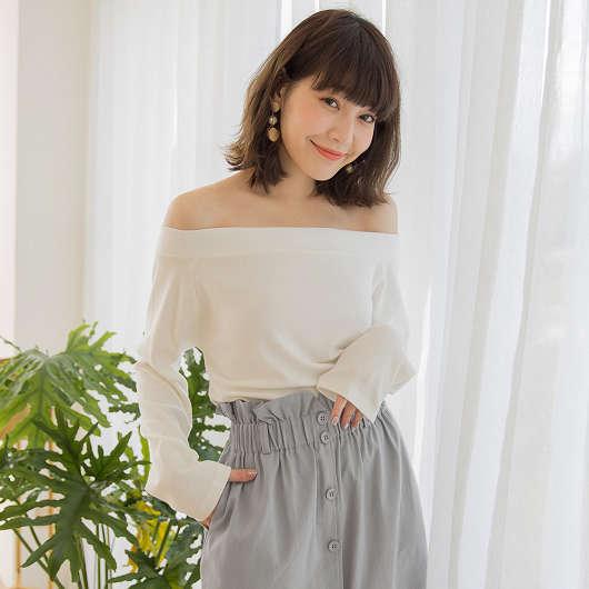 tokichoi -輕甜春日鬆緊一字領棉質上衣