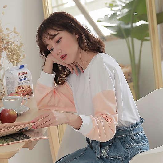 tokichoi -活力少女袖子配色拼接長袖T恤