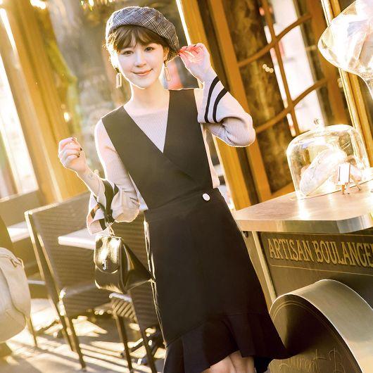 安琪聯名巴黎女孩V領魚尾背心裙洋裝