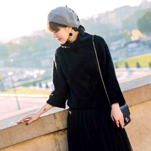 安琪聯名巴黎冬日毛海高領寬袖毛衣