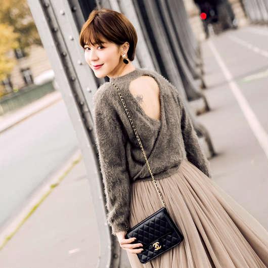 安琪聯名法式甜美小心機露背毛衣