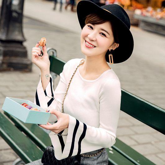 安琪聯名巴黎美學多色喇叭袖上衣