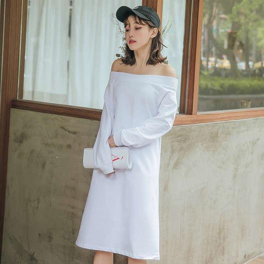tokichoi -百搭簡約鬆緊一字領棉質洋裝