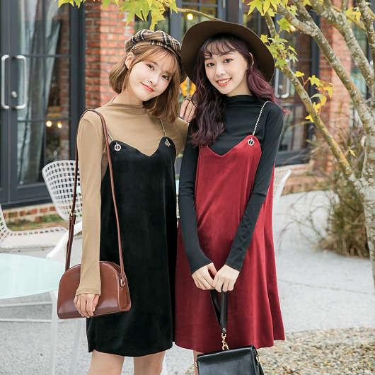 多色兩件式細肩帶鍊條絨布洋裝