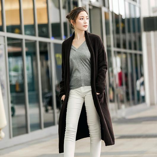 歐美時尚翻領設計針織外套