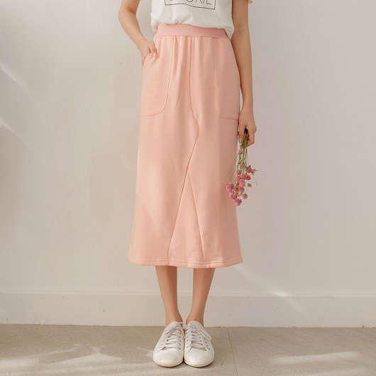 tokichoi -輕鬆好夥伴簡約舒適鬆緊膝下棉裙