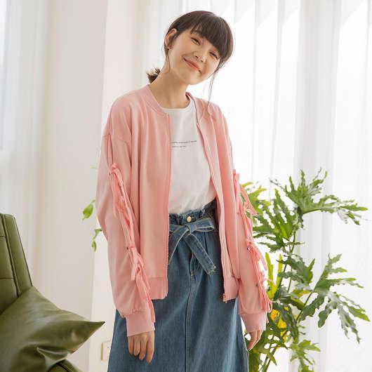 tokichoi -俏皮甜美蝴蝶結綁帶袖拉鍊棉質外套